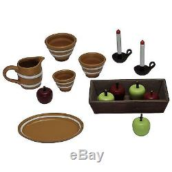 23pc Furniture Accessories Table, Chairs, Hutch, Food, Dishes For American Girl Doll