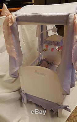 AMERICAN GIRL Bitty Baby DOLL CRIB with Canopy, Bedding, and Mobile