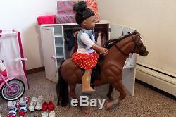 American Girl 18 Hawaiian Doll & Outfits Dog Battat Bed Wardrobe Horse Bike LOT