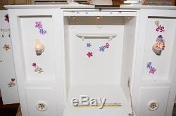 American Girl 3-in-1 Murphy Folding Bed Jeweled Tiara Bedding Retired Wardrobe