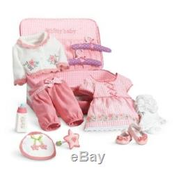 American Girl Bitty Baby DELUXE LAYETTE STARTER SET outfits pink suitcase dress