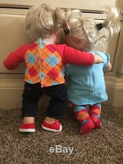 American Girl Boy Bitty Baby Twins Lot Furniture Outfit Bundle Blonde Blue Eye