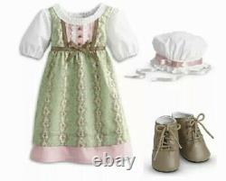 American Girl Carolines Work Dress Complete RETIRED Outfit Cap Boots Dress