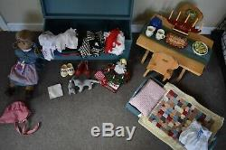 American Girl Doll Kirsten LOT doll, outfits, trunk, bed, table, holiday treats