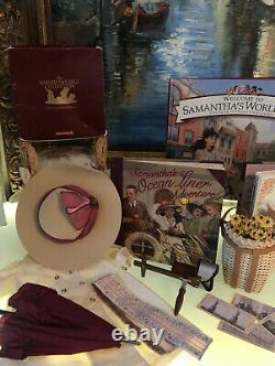 American Girl Doll Samantha Travel Duster Parasol Scarf Stereoscope Book Set