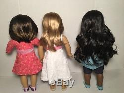 American Girl Doll Sonali, Gwen, and Chrissa Dolls of the Year 2009 Lot In Box