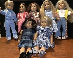 American Girl Dolls Lot of 7 with Outfits