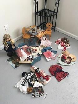 American Girl Kirsten (Retired) with mult outfits, bedroom, scene & setting book