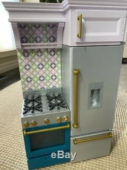American Girl Kitchen farmhouse stove refrigerator fridge ice cubes NEW 18 doll