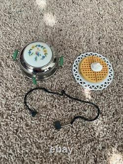 American Girl Kits Waffle Iron Set w Power Cord Waffles Plate & Whip Cream EUC