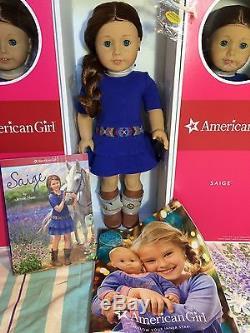 American Girl SAIGE 18 DOLL + BOOK + RING Sage + Bonus 2013 CATALOG & NECKLACE
