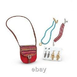 American Girl SAIGE DOLL + BOOK 2013 + Saige's ACCESSORIES purse earrings sage +