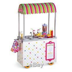 American Girl TRULY ME CAMPUS SNACK CART 18 Dolls Food Apron Hot Dog Stand NEW