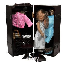 Clothes Storage Trunk Case, Hanger For 18 Inch American Girl Doll Furniture MA