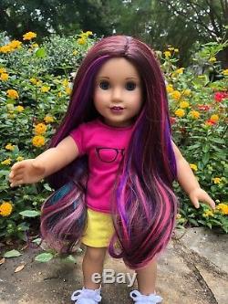 Custom American Girl Doll McKenna EUC blue eyes NEW OOAK Electric Rainbow Wig