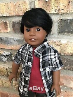 Dylan Custom Boy American Girl Doll OOAK Black Hair Brown Eyes Dark Skin