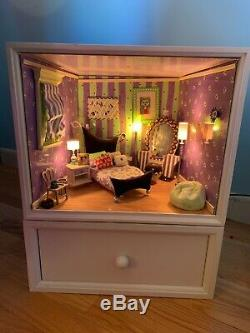 Gently used AG Minis Purple Illuma Room with box and storage drawer