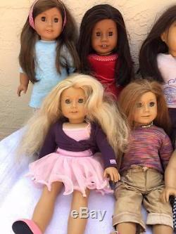 Lot Of 14 American Girl Dolls Fully Dressed Including Dolls Of The Year