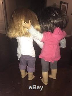Lot Of Two American Girl Dolls 18 Brunette Brown Eyes And Red Hair Green Eyes