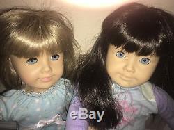 Lot of 2 American Girl Pleasant Company Dolls 18 Blonde/Brunette Blue Eyes Read