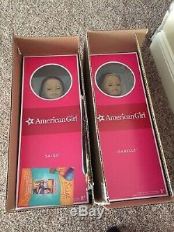 NIB LOT 2 American Girl dolls Retired GOTY 2013 Saige & 2014 Isabelle AUTHENTIC