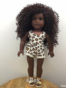 Natasha Custom OOAK African American Girl Doll Brown Curly Hair Blue Eyes CYO