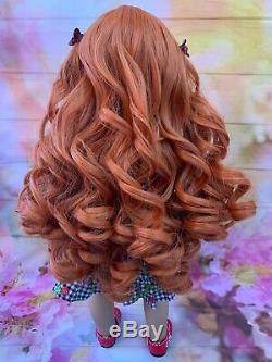 OOAK American Girl Doll 18 Long Red Curly Hair Green Eyes Custom