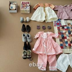 RARE American Girl Pleasant Company Kirsten Doll withBlue Trunk & Lot of clothes