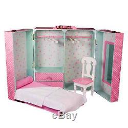 Storage Trunk Suitcase withBed For 18 Inch American Girl Doll Furniture #AGPBRT