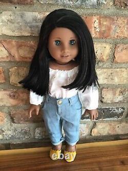 Thea Custom American Girl Doll OOAK Black Hair Dark Blue Eyes Sonali