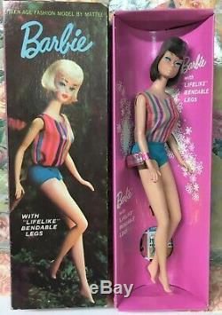 Vintage American Girl Brunette Barbie Doll 1070 Wrist tag Box Long Hair